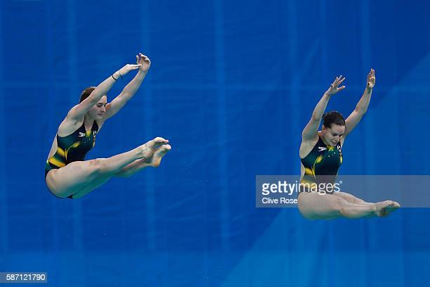 Maddison Keeney and Anabelle Smith of Australia compete in the Women's Diving Synchronised 3m Springboard Final on Day 2 of the Rio 2016 Olympic...