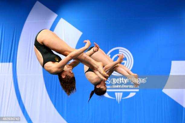 Maddison Keeney and Anabelle Smith of Australia competes in the Women's Synchronised 3m Springboard Final at Royal Commonwealth Pool during day seven...