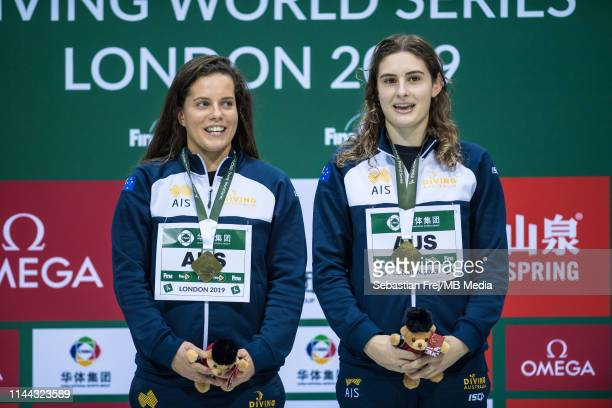Maddison Keeney and Anabelle Smith of Australia during the Womens 3m Synchro Springboard at Aquatics Centre on May 17 2019 in London England