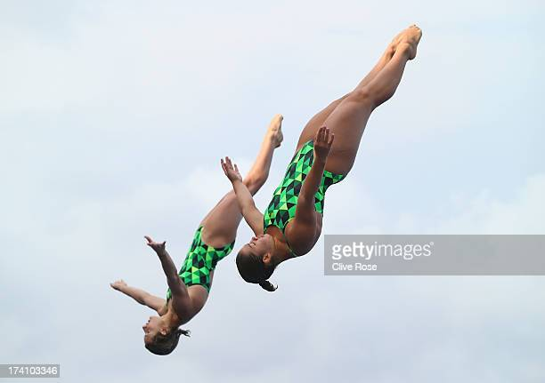 Maddison Keeney and Sherilyse Gowlett of Australia compete in the Women's 3m Springboard Synchronised Diving final on day one of the 15th FINA World...
