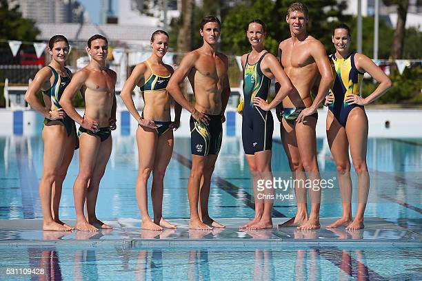 Maddison Keeney Domonic Bedggood Bronte Barrat Cam McEvoy Emma McKeon Jake Packard Kelsey Wakefield pose during the Speedo Rio 2016 Team Suit Launch...