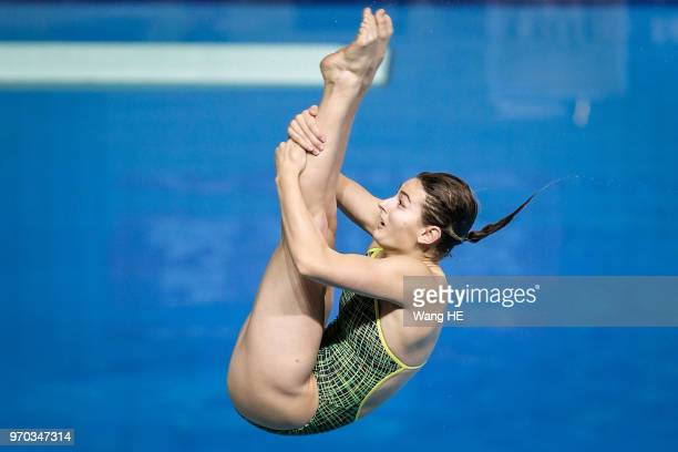 Maddison Keeney of Australia competes in the Women's 3m Springboard final during the FINA Diving World Cup 2018 at the Wuhan Sports Center on June 9...