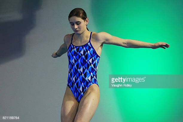 Maddison Keeney of Australia completes a dive during a training session prior to the FINA/NVC Diving World Series 2016 at the Windsor International...