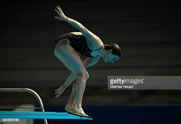 Maddison Keeney of Australia stumbles on the board in the Women's 3m Springboard Diving Final on day eight of the 16th FINA World Championships at...
