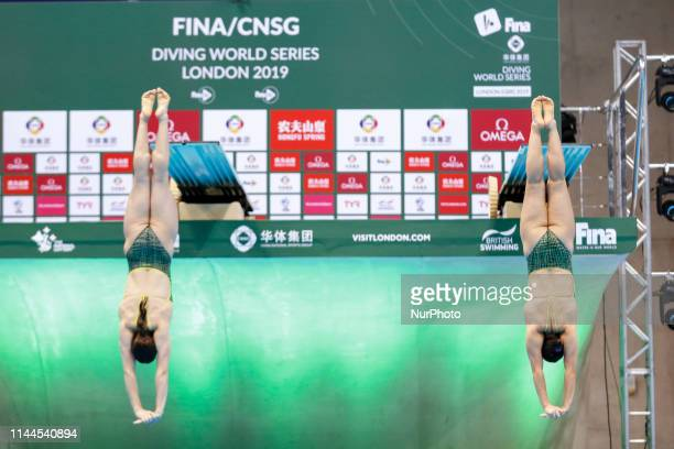 Maddison KEESEY and Anabelle SMITH of Australia compete in the Women's 3 meter Synchro Springboard final during the last meeting of the FINA Diving...