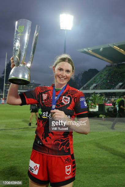 Maddison Studdon of the Dragons holds the trophy aloft after winning the final against the Broncos during Day 2 of the 2020 NRL Nines at HBF Stadium...