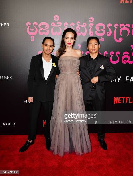 Maddox Jolie-Pitt, Angelina Jolie and Pax Jolie-Pitt arrive to the DGA Theater for the New York premiere of 'First They Killed My Father' on...