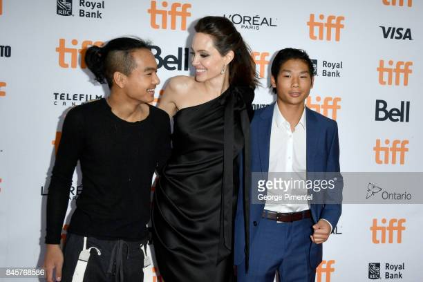 """Maddox Jolie-Pitt, Angelina Jolie and Pax Jolie-Pitt attend the """"First They Killed My Father"""" premiere during the 2017 Toronto International Film..."""