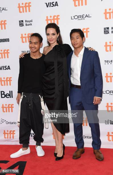 Maddox Jolie-Pitt, Angelina Jolie and Pax Jolie-Pitt attend the 'First They Killed My Father' premiere during the 2017 Toronto International Film...