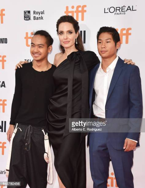 "Maddox Jolie-Pitt, Angelina Jolie and Pax Jolie-Pitt attend the ""First They Killed My Father"" premiere during the 2017 Toronto International Film..."