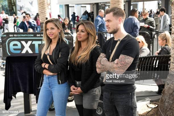 Maddy Burciaga Sarah Martins and Steven Bachelard visit Extra at Universal Studios Hollywood on February 22 2018 in Universal City California