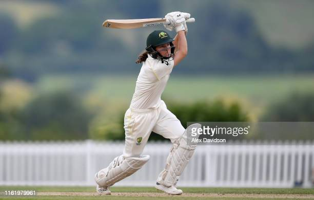Maddy Darke of Australia A bats during Day Three of the International Friendly match between England Women and Australia A Women at Millfield School...