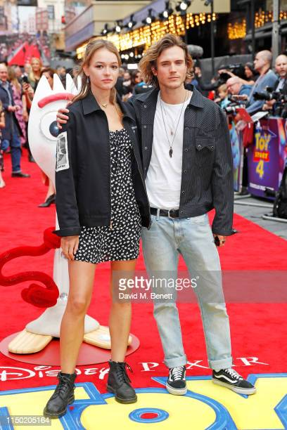 """Maddy Elmer and Dougie Poynter attend the European Premiere of """"Toy Story 4"""" at Odeon Luxe Leicester Square on June 16, 2019 in London, England."""