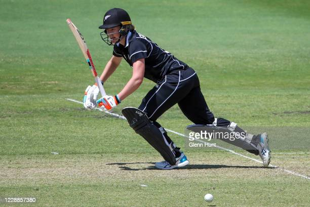 Maddy Green of New Zealand bats during game one in the women's One Day International Series between Australia and New Zealand at Allan Border Field...