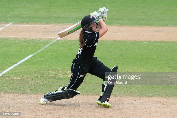 Maddy Green of New Zealand in action during game one of the One Day International Series between New Zealand White Ferns and India at McLean Park on...