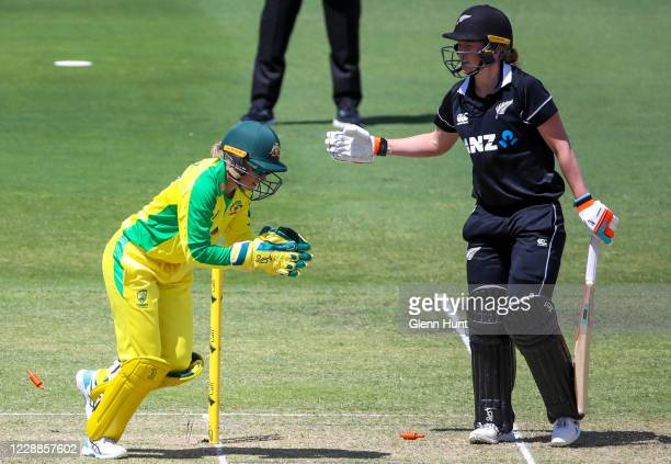 Maddy Green of New Zealand is bowled during game one in the women's One Day International Series between Australia and New Zealand at Allan Border...