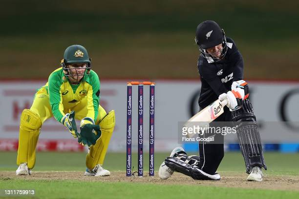 Maddy Green of New Zealand plays a shot during game three of the One Day International series between the New Zealand White Ferns and Australia at...