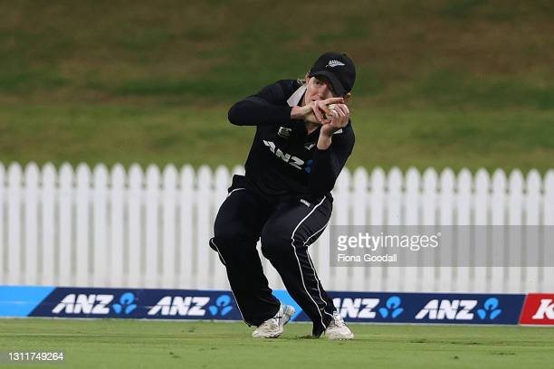 Maddy Green of New Zealand takes a catch to dismiss Meg Lanning, captain of Australia during game three of the One Day International series between...