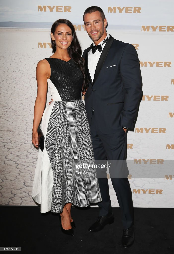 Maddy King and Kris Smith arrive at the Myer Spring/Summer 2014 Collections Launch at Fox Studios on August 8, 2013 in Sydney, Australia.