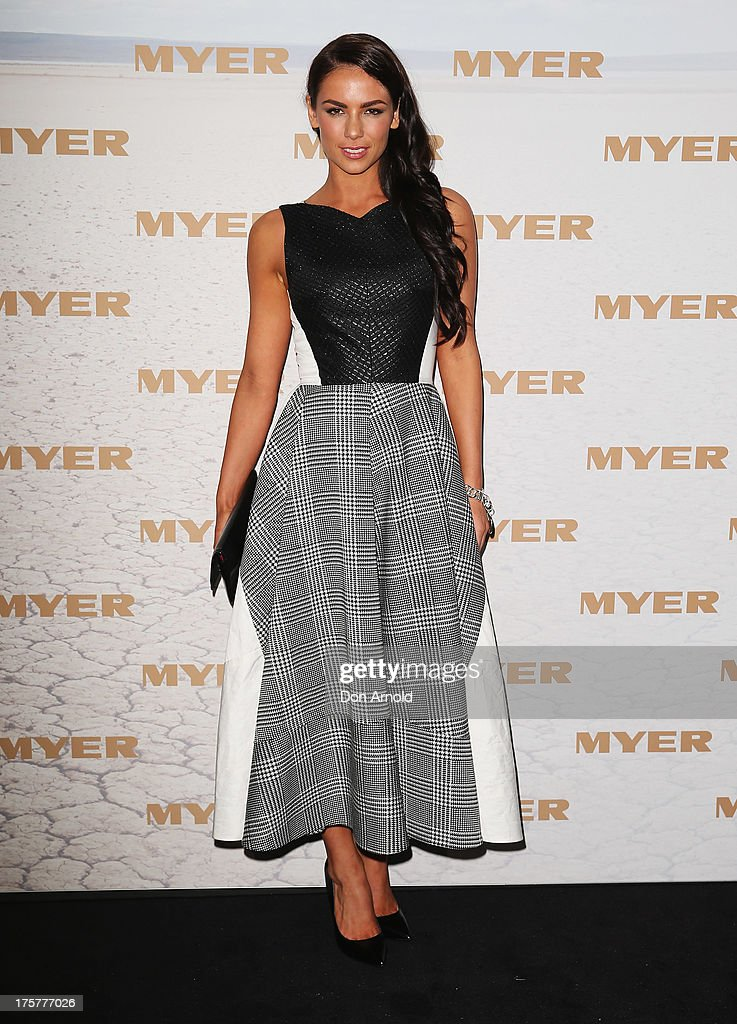 Maddy King arrives at the Myer Spring/Summer 2014 Collections Launch at Fox Studios on August 8, 2013 in Sydney, Australia.