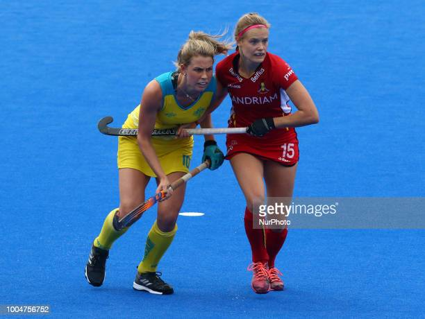 Maddy of Australia and WEYNS AnneSophie of Belgium during FIH Hockey Women's World Cup 2018 Day Three match Pool D GAME 10 between Australia and...