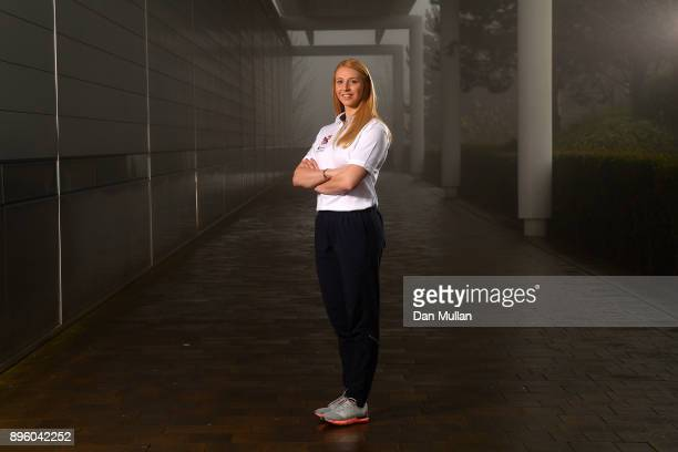 Maddy Smith of Great Britain poses for a portrait during a Team GB Skeleton Media Session at the University of Bath Sports Training Village on...