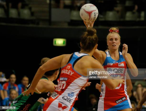 Maddy Turner of the NSW Swifts looks for options to pass during the round four Super Netball match between the Fever and the Swifts at HBF Stadium on...