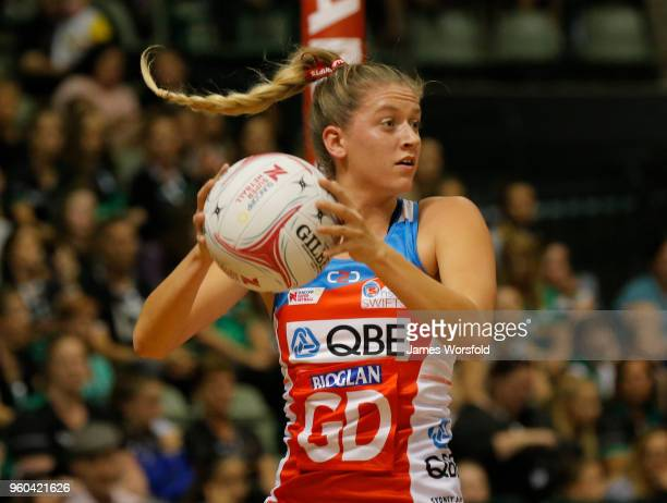 Maddy Turner of the NSW Swifts looks to pass up the court during the Super Netball match between the Fever and the Swifts at HBF Stadium on May 20...