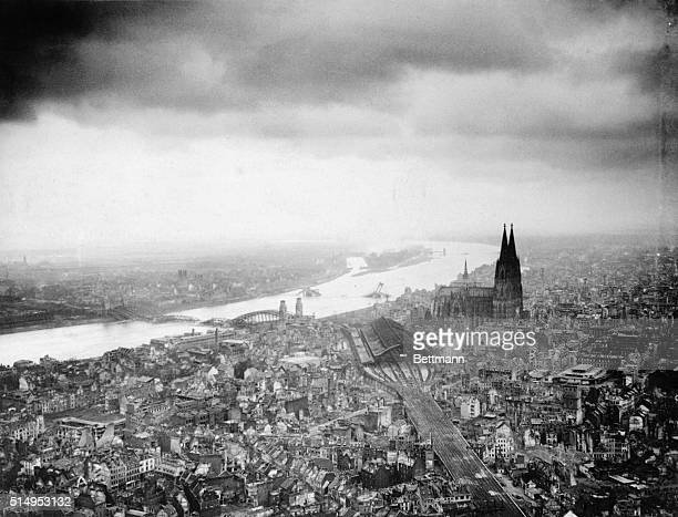 Made from a US artillery spotter plane this photo of the Cathedral City of Cologne shows how Allied bombs and artillery have devastated Germany's...