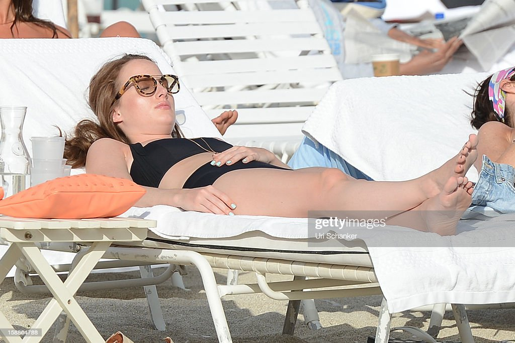 'Made in Chelsea' cast member and fashion blogger Rosie Fortescue is seen on January 1, 2013 in Miami, Florida.