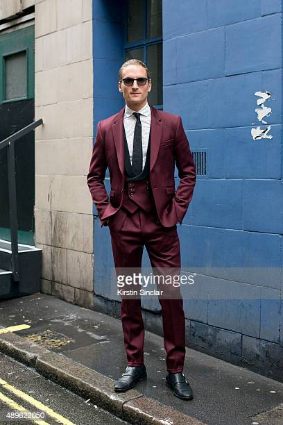 Made In Chelseaâs star Oliver Proudlock wears Joshua Kane suit and shirt Oliver Spencer shoes and Tom Ford sunglasses on day 5 during London Fashion...
