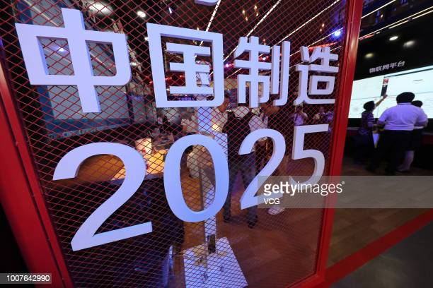 Made in China 2025' exhibition booth is seen on the opening day of the Smart City Expo China 2017 on September 8, 2017 in Ningbo, Zhejiang Province...