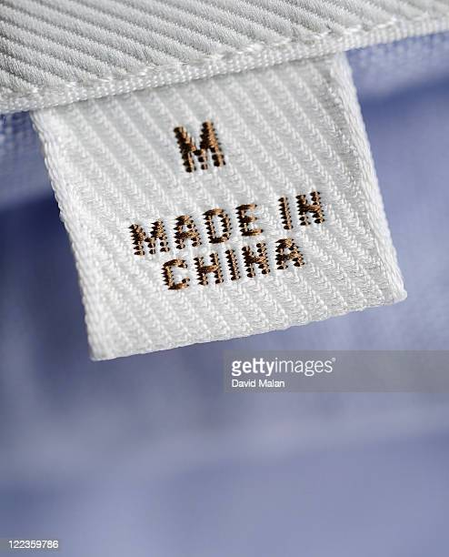 "CU of ""Made in China"" label on clothing"