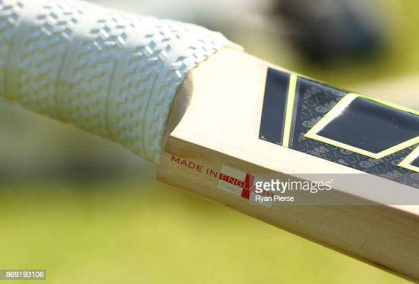 A made in England sticker is seen on the bat of Dawid Malan of England during an England nets session at Richardson Park on November 2 2017 in Perth...