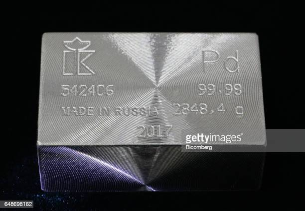 A Made in Russia engraving sits on a palladium ingot weighing 28484 grams following manufacture at the JSC Krastsvetmet nonferrous metals plant in...