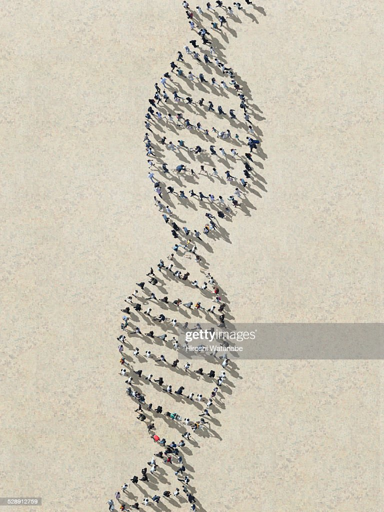 DNA made out of walking people : Stock Photo