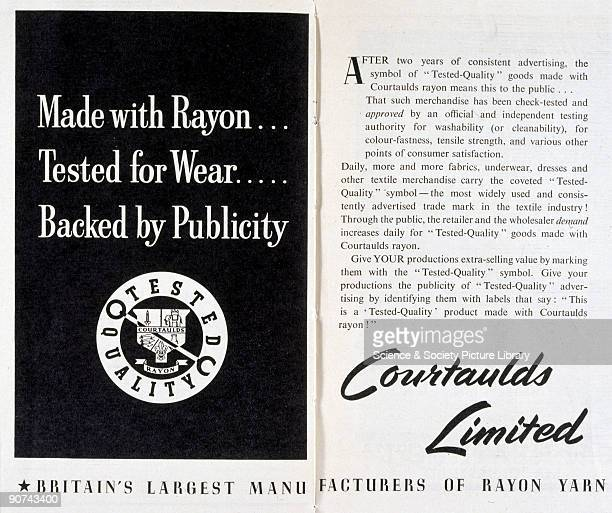 Made with Rayon, Tested for Wear, Backed by Publicity'. An advertisement for Courtaulds Limited from 'The Story of Rayon and Other Synthetic...