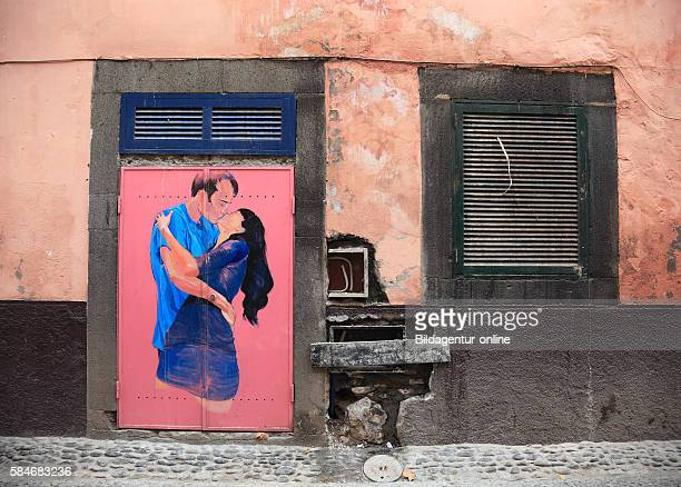 Madeira Funchal painted doors in the Old Town The kind of open doors in the street of Santa Maria