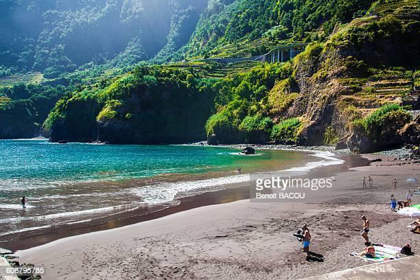madeira island, black beach in seixal - madeira island stock photos and pictures