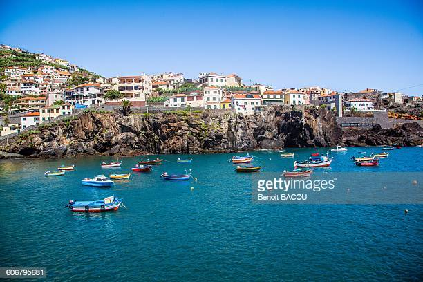 madeira island, camara de lobos, harbor views - madeira island stock photos and pictures