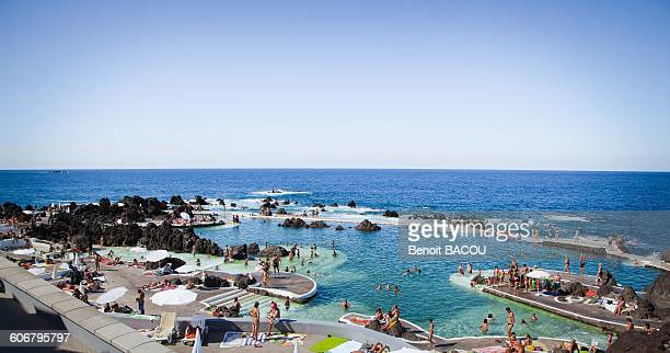 madeira island, natural pool of porto moniz - funchal stock pictures, royalty-free photos & images