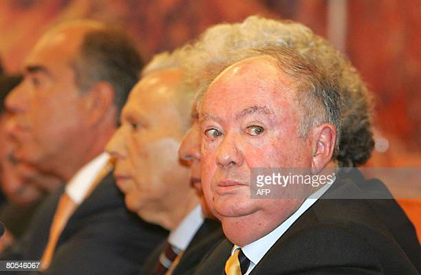 Madeira region President Alberto Joao Jardim attends on April 5 2008 the 12th Congress of the Social Democratic Party of Madeira in Funchal where he...