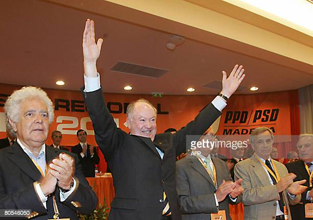 Madeira region President Alberto Joao Jardim gestures on April 5 2008 during the 12th Congress of the Social Democratic Party of Madeira in Funchal...