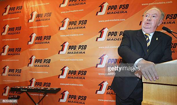 Madeira region President Alberto Joao Jardim speaks on April 5 2008 during the 12th Congress of the Social Democratic Party of Madeira in Funchal...