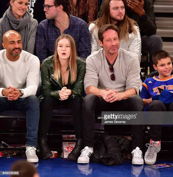 Madelaine Duchovny and David Duchnovy attend Golden State Warriors Vs New York Knicks game at Madison Square Garden on March 5 2017 in New York City