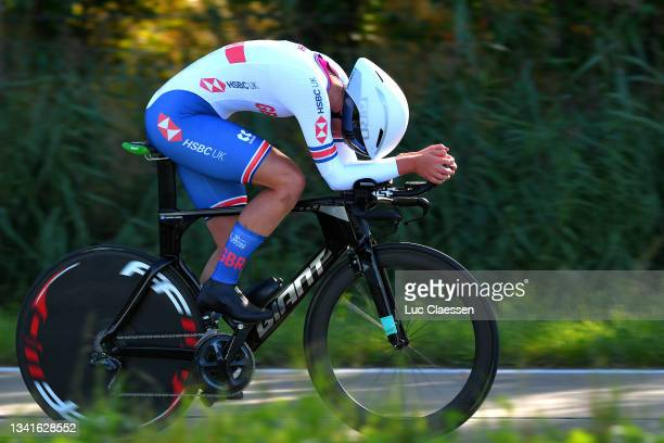Madelaine Leech of The United Kingdom sprints during the 94th UCI Road World Championships 2021 - Women Junior ITT a 19,3km Individual Time Trial...