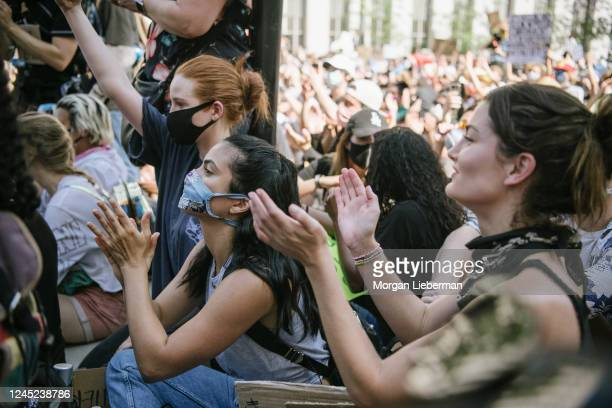 Madelaine Petsch and Camila Mendes attend a Black Lives Matter protest on June 03 2020 at Los Angeles City Hall in Downtown Los Angeles