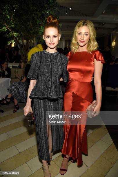 Madelaine Petsch and Lili Reinhart attend The CW Network's 2018 upfront party at Avra Madison Estiatorio on May 17 2018 in New York City