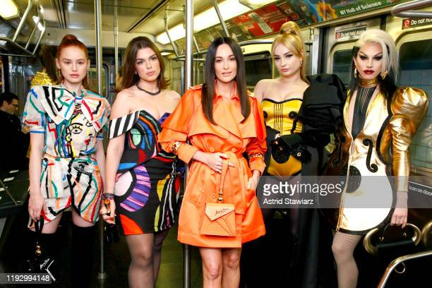 Madelaine Petsch Julia Fox Kacey Musgraves Kim Petras and Aquaria attend the Moschino Prefall 2020 Runway Show front row at New York Transit Museum...