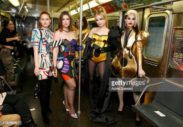 Madelaine Petsch Julia Fox Kim Petras and Aquaria attend the Moschino Prefall 2020 Runway Show front row at New York Transit Museum on December 09...